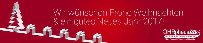 OHRpheus lite Weihnachtsbanner mit weihnachtlicher Deko, Weihnachtsgruß und OHRpheus lite Logo
