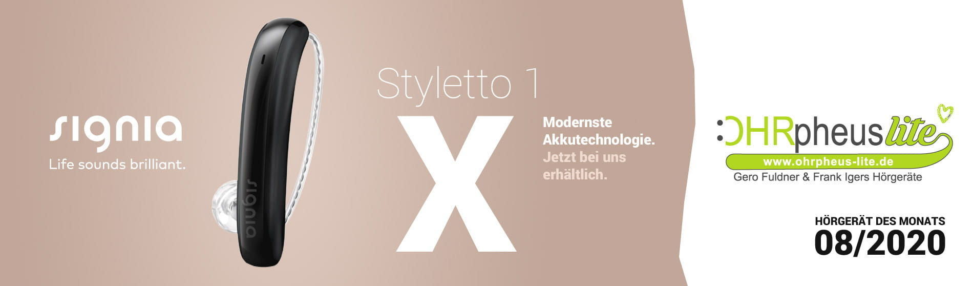 Signia Styletto 1 X Hörgerät Sliderbild
